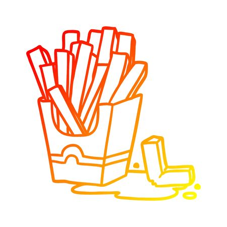 warm gradient line drawing of a junk food fries