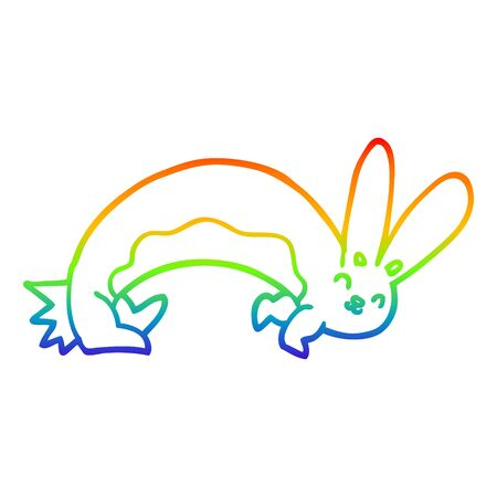rainbow gradient line drawing of a funny cartoon rabbit