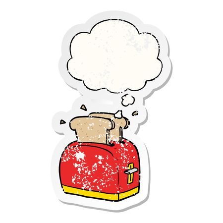 cartoon toaster with thought bubble as a distressed worn sticker Zdjęcie Seryjne - 129355695