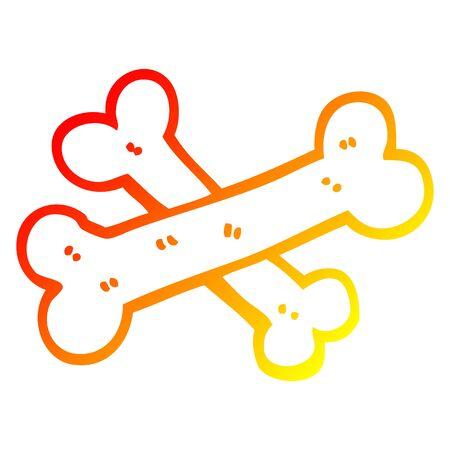 warm gradient line drawing of a crossed bones cartoon Stock Vector - 129355756