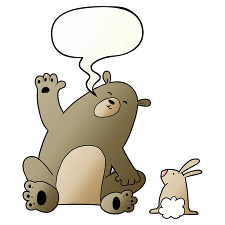 cartoon bear and rabbit friends with speech bubble in smooth gradient style