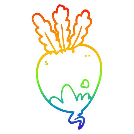 rainbow gradient line drawing of a cartoon beet root