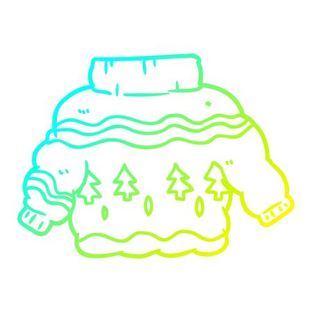 cold gradient line drawing of a embarrassing christmas jumper