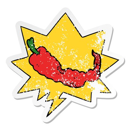 cartoon chili pepper with speech bubble distressed distressed old sticker Çizim