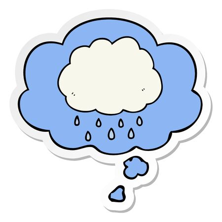 cartoon rain cloud with thought bubble as a printed sticker Çizim