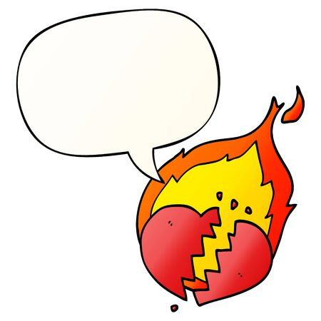 cartoon flaming heart with speech bubble in smooth gradient style Stock fotó - 129356162