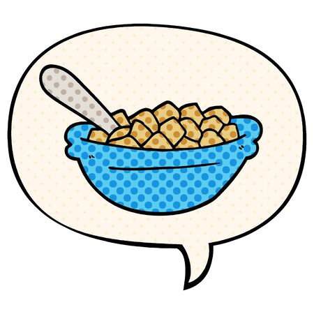 cartoon cereal bowl with speech bubble in comic book style