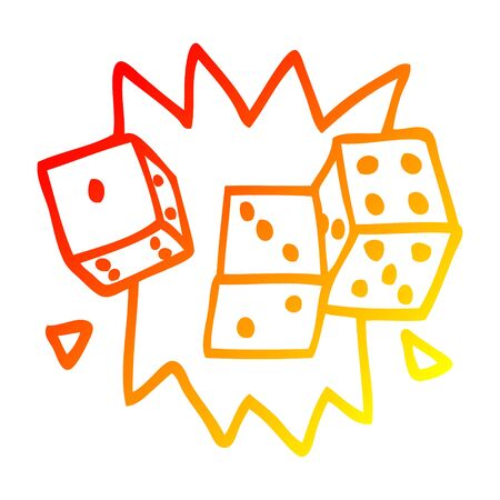 warm gradient line drawing of a cartoon rolling dice 向量圖像