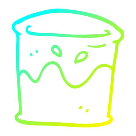 cold gradient line drawing of a cartoon drink in glass tumbler Illustration
