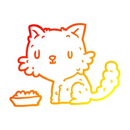 warm gradient line drawing of a cute cartoon cat and food