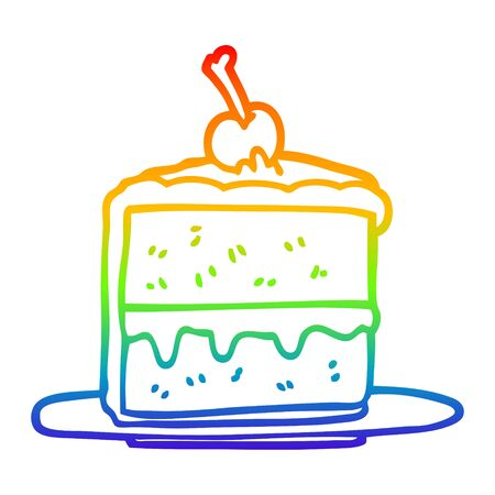 rainbow gradient line drawing of a cartoon cake slice Illustration