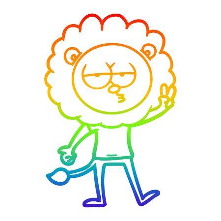 rainbow gradient line drawing of a cartoon bored lion waving Vektorové ilustrace