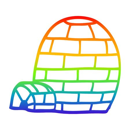 rainbow gradient line drawing of a cartoon igloo