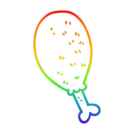 rainbow gradient line drawing of a cartoon cooked chicken leg Illustration