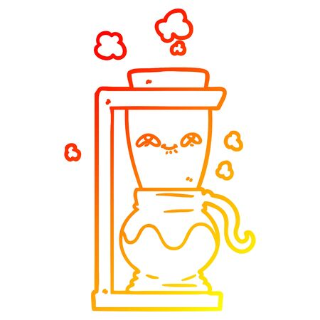 warm gradient line drawing of a happy cartoon coffee pot