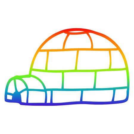 rainbow gradient line drawing of a cartoon igloo