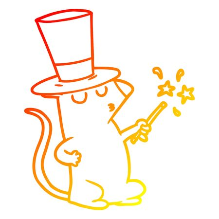 warm gradient line drawing of a cartoon mouse magician