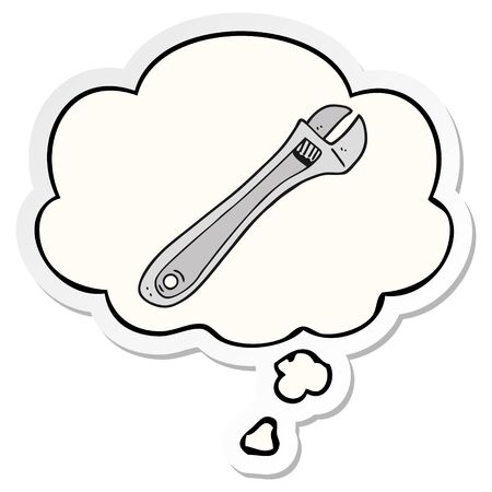 cartoon spanner with thought bubble as a printed sticker Illustration