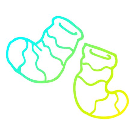 cold gradient line drawing of a cartoon socks