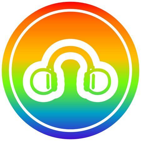 music headphones circular icon with rainbow gradient finish
