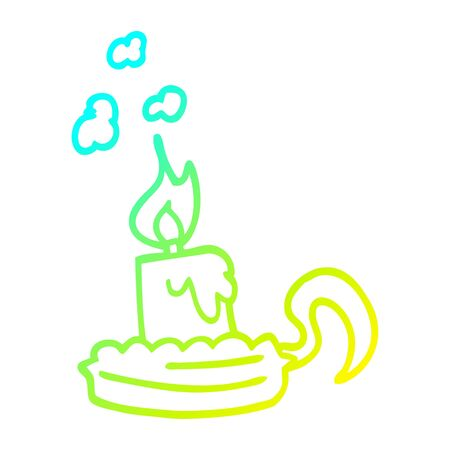 cold gradient line drawing of a cartoon candle in candleholder