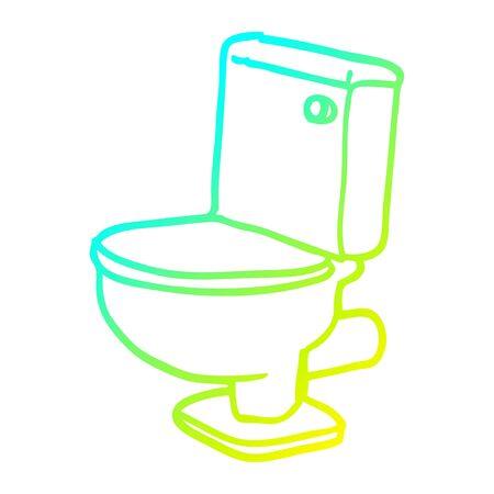 cold gradient line drawing of a cartoon golden toilet Standard-Bild - 129356060