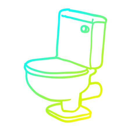cold gradient line drawing of a cartoon golden toilet