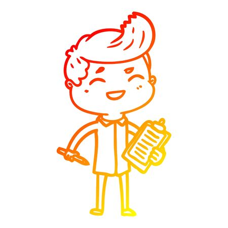 warm gradient line drawing of a cartoon laughing salesman