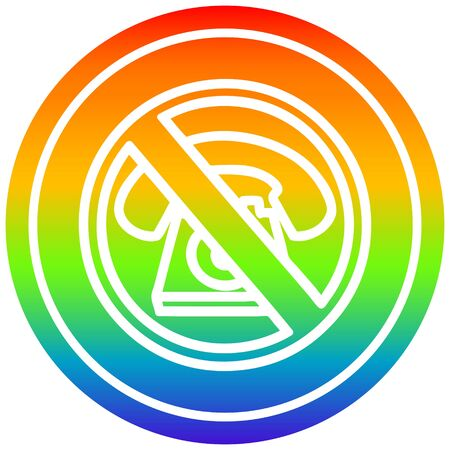 no cold calling circular icon with rainbow gradient finish