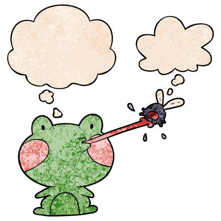 cartoon frog catching fly with thought bubble in grunge texture style