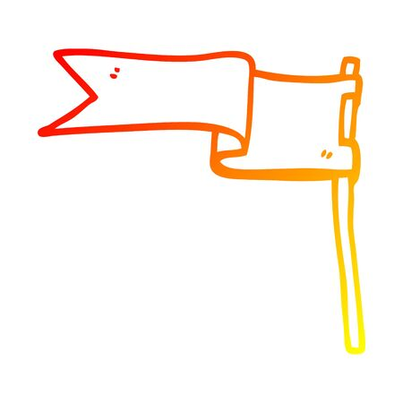 warm gradient line drawing of a cartoon flag Stock Illustratie
