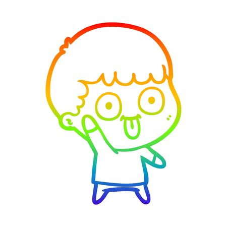 rainbow gradient line drawing of a cartoon dumb kid