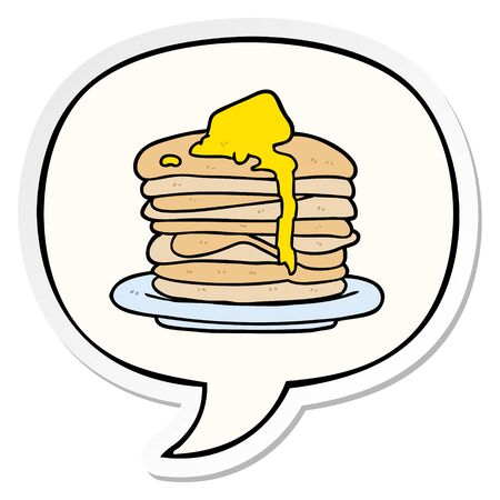 cartoon stack of pancakes with speech bubble sticker