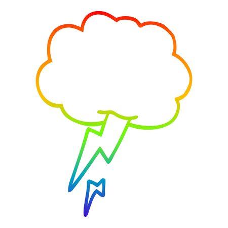 rainbow gradient line drawing of a cartoon thunder and lightening