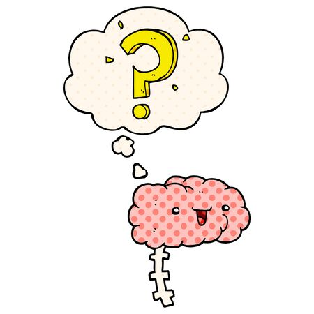 cartoon curious brain with thought bubble in comic book style