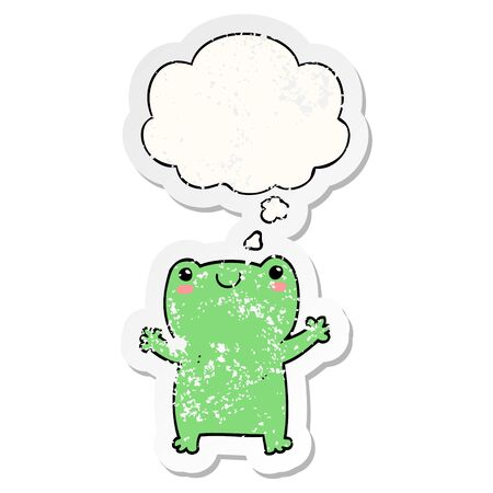 cute cartoon frog with thought bubble as a distressed worn sticker  イラスト・ベクター素材