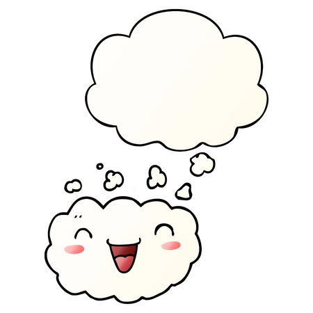 happy cartoon cloud with thought bubble in smooth gradient style
