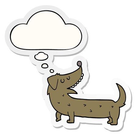 cartoon dog with thought bubble as a printed sticker Ilustração