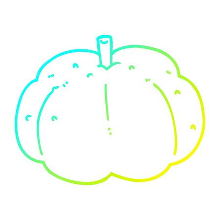 cold gradient line drawing of a cartoon pumpkin