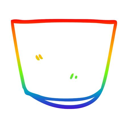 rainbow gradient line drawing of a cartoon glass Ilustração