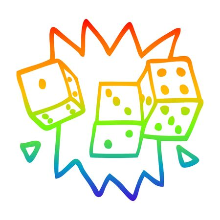rainbow gradient line drawing of a cartoon rolling dice