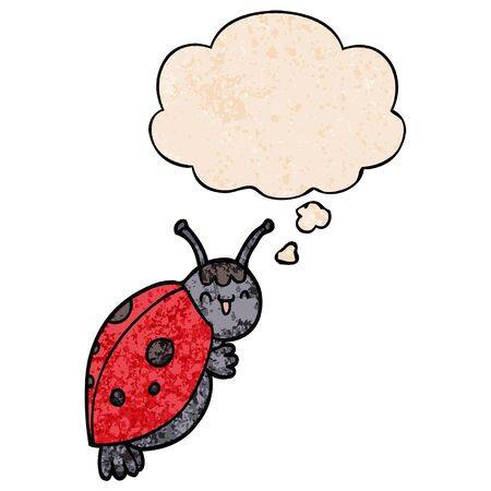 cute cartoon ladybug with thought bubble in grunge texture style Ilustrace