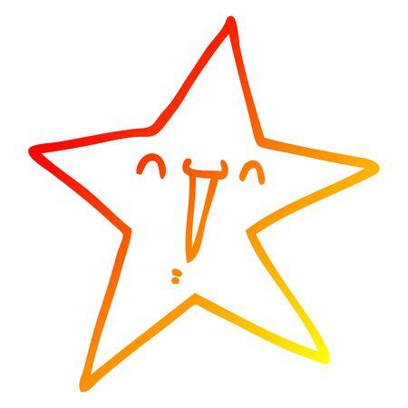 warm gradient line drawing of a happy cartoon star Ilustração