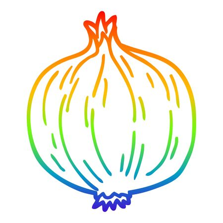 rainbow gradient line drawing of a cartoon onion Illusztráció