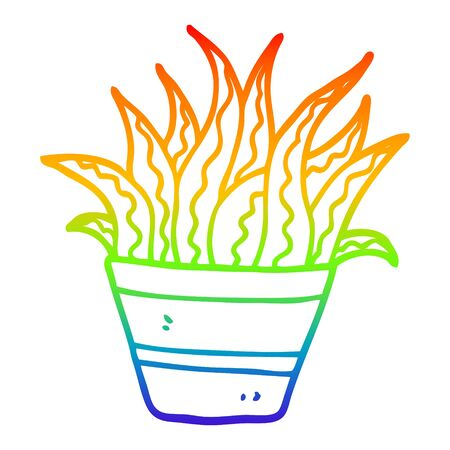 rainbow gradient line drawing of a cartoon plant Illustration