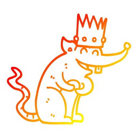 warm gradient line drawing of a cartoon rat king laughing Illustration