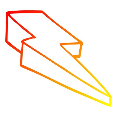 warm gradient line drawing of a cartoon decorative lightning bolt