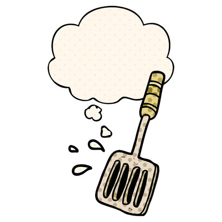 cartoon kitchen spatula with thought bubble in comic book style