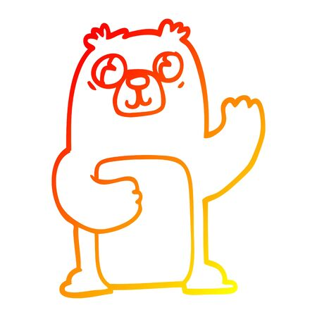 warm gradient line drawing of a cartoon wide eyed bear Illustration