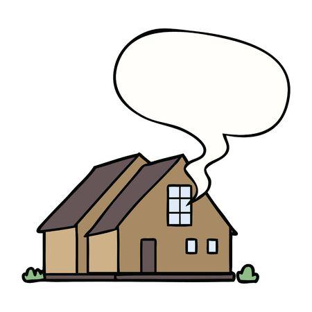 cartoon house with speech bubble